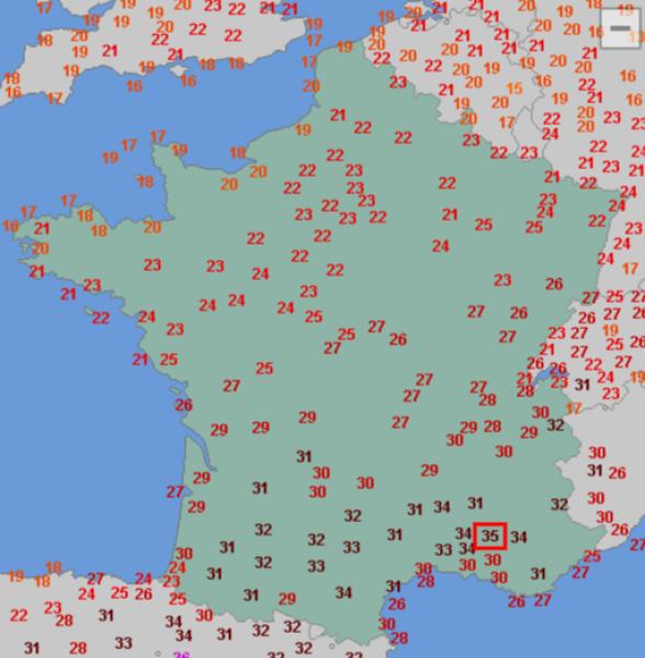 Temperatura we Francji (wtorek 13.06.)