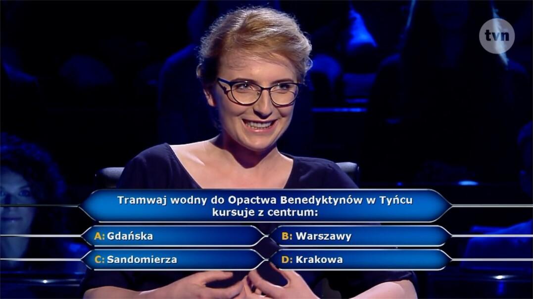 """Pytanie w """"Milionerach"""" o tramwaj wodny do Opactwa Benedyktynów w Tyńcu"""