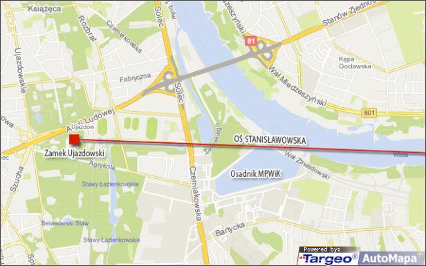 Przebieg fragmentu Osi Stanisławowskiej od Zamku Ujazdowskiego targeo.pl, tvnwarszawa.pl