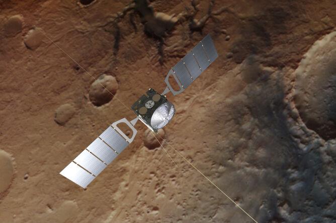 Artystyczna wizja sondy Mars Express (ESA/ATG medialab; Mars: ESA/DLR/FU Berlin; CC BY-SA 3.0 IGO)