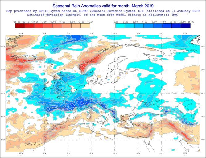 Prognoza odchylenia opadów od normy według modelu ECMWF
