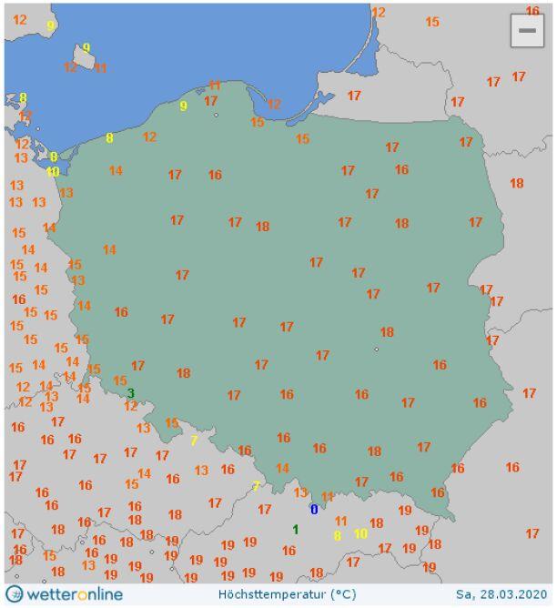Maksymalna temperatura w sobotę w Polsce (wetteronline.de)