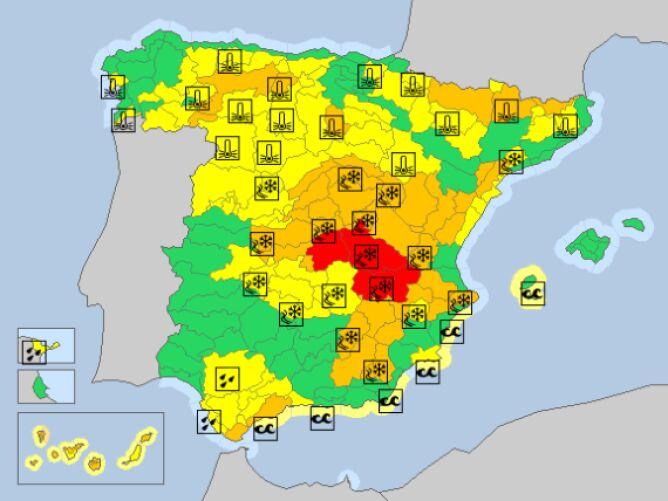 Ostrzeżenia meteorologiczne w Hiszpanii na piątek (meteoalarm.eu)