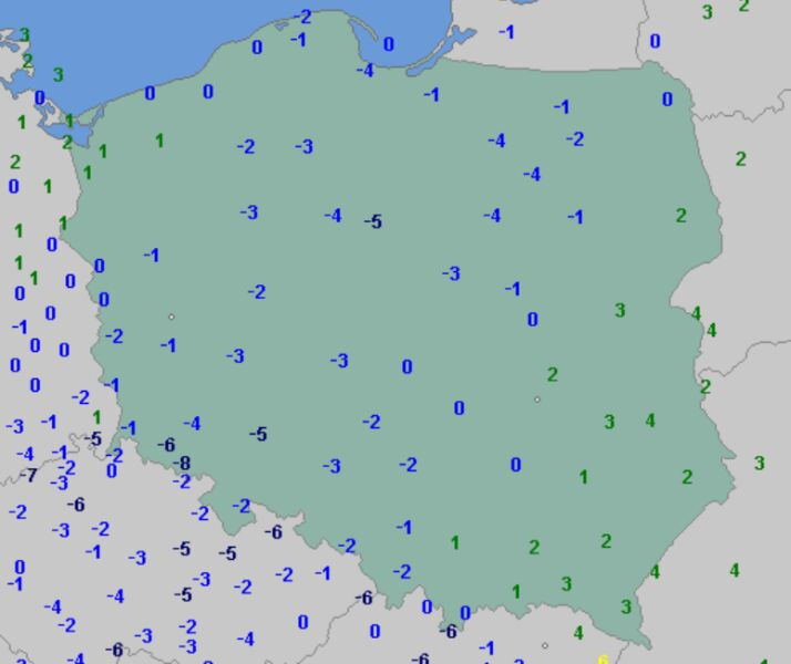 Temperatura minimalna 1 stycznia (wetteronline.de)
