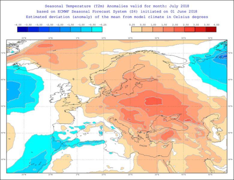 Odchylenie średniej miesięcznej temperatury w lipcu (ECMWF)